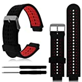 For Garmin Forerunner 230/235/630 Band, Transer Soft Silicone Replacement Strap Wristband Accessories with Tools for Garmin Forerunner 220/230/235/620/630 Smart Bracelet (Red)