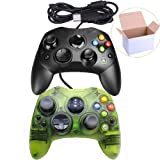 Mekela Classic Wired Controller Gamepad Joysticks for Xbox S Type Console (Black and ClearGreen)