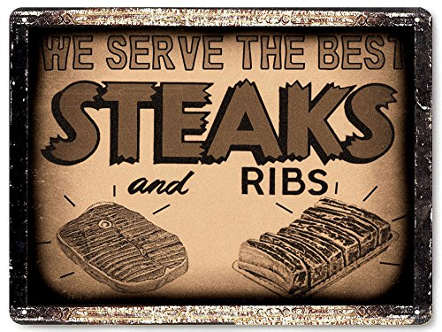 Butcher Ribs shop meat meat Sign Barbecue BBQ steak restaurant diner deli / vintage style retro Wall decor 041