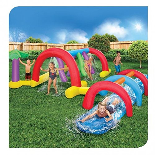 Backyard Adventure Water Park Slide Sprinklers, 17.9 Foot long Fun Course Party (Slides Backyard compare prices)
