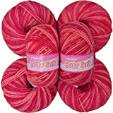 Vardhman Acrylic Knitting Wool, Pack Of 6 (Multi Strawberry) No.286 (pack Of 16)