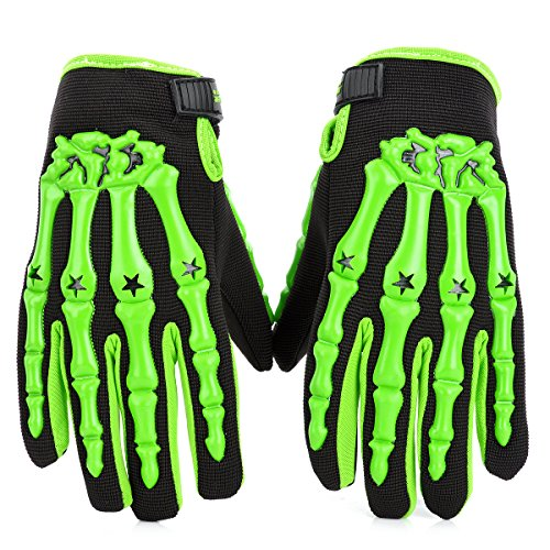 Skeleton Anti-Skid Breathable Motorcycle Racing Full-Finger Gloves - Green + Black (Size-M / Pair)
