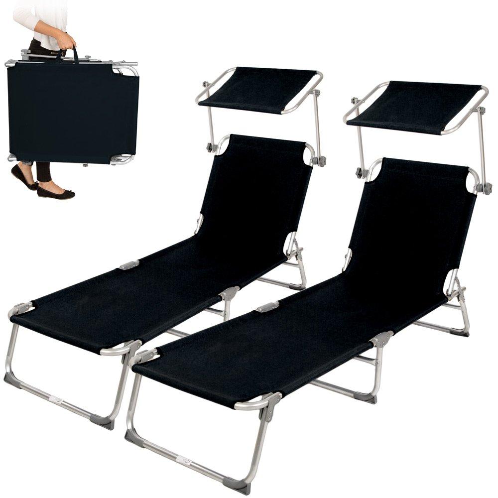 TecTake 2x Aluminium Gartenliege Sonnenliege klappbar mit Sonnendach 190cm schwarz günstig