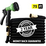 "[2019 NEW] HEAVY DUTY 75 ft Non-Kink Expandable Garden Hose, 10-PATTERN Spray Nozzle INCLUDED, 3/4"" Brass Fittings with Shutoff Valve, STRONGEST EXPANDABLE 75 foot HOSE - 2 YEAR WARRANTY - BLACK"