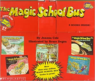The Magic School Bus 5 books inside Briefcase At the Waterworks, Lost in the Solar System, Inside the Human Body, Inside the Earth, On the Ocean Floor written by Joanna Cole