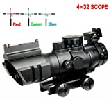 Aipa Prism 4x32 AR15 Rifle Scope Red/Green/Blue Triple Illuminated Rapid Range Reticle W/ Top Fiber Optics Sight and Weaver Slots (24 Month Warranty) (Color: 4x32 rifle scope)