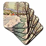 3dRose cst_7390_2 Snowy River-Soft Coasters, Set of 8