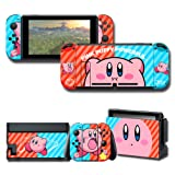 Protector Wrap Skin Decal for Nintendo Switch, Games Faceplate Stickers Full Set Protective Neon Red & Blue Console Joy-Con Dock (Color: Red&Blue)
