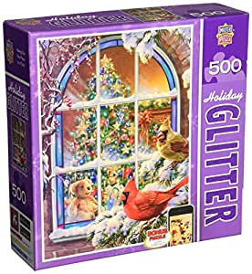 MasterPieces Puzzle Company Holiday Glitter Christmas Window Jigsaw Puzzle , Art by Dona