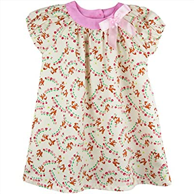 Coral Forest Little Girls' Woodland Printed Little Deer and Flower Shift Dress