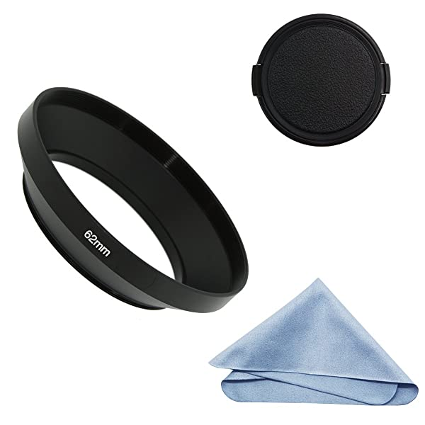 SIOTI Camera Wide Angle Metal Lens Hood with Cleaning Cloth and Lens Cap Compatible with Leica/Fuji/Nikon/Canon/Samsung Standard Thread Lens(62mm) (Color: Wide Angle, Tamaño: 62mm)
