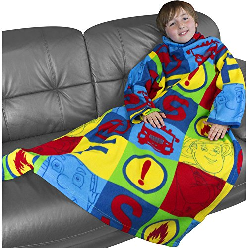 Boy's Colourful Fireman Sam Super Soft Sleeved Fleece Blanket