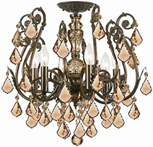 Amazon.com: Gold Coast Lighting Regis Crystal Semi Flush-Mount
