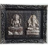 Laps Of Luxury - Laxmi & Ganesha Idol Glass Frame In Black, Brown & Golden Finish