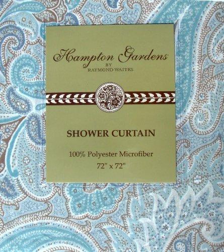 Raymond Waites Hampton Gardens Blue Brown Floral Paisley Fabric Shower Curtain front-262760