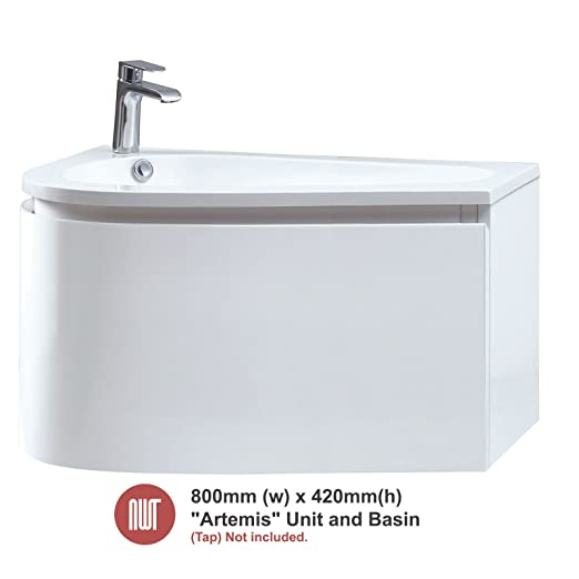 Artemis White Wall Mounted Unit & Basin - 800mm(w) x 420mm(h) x 500mm (d)