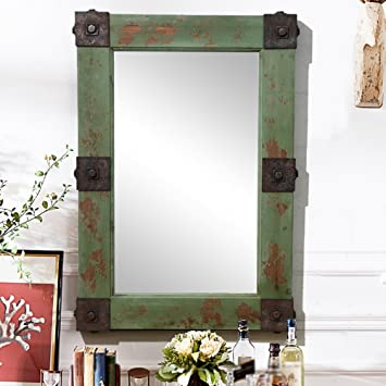 ZI LING SHOP- Retro vecchio legno americano specchio industriale specchio barattolo caffè caffè specchietto decorativo specchietto bagno (66x95.5cm) Mirror