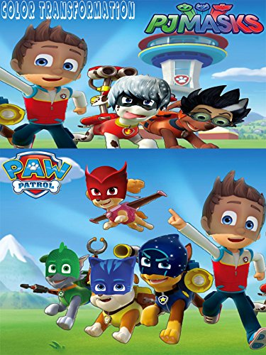 Paw Patrol Transforms Into Pj Masks Gekko, Catboy, Owlette, Luna Girl | Coloring Videos For Kids