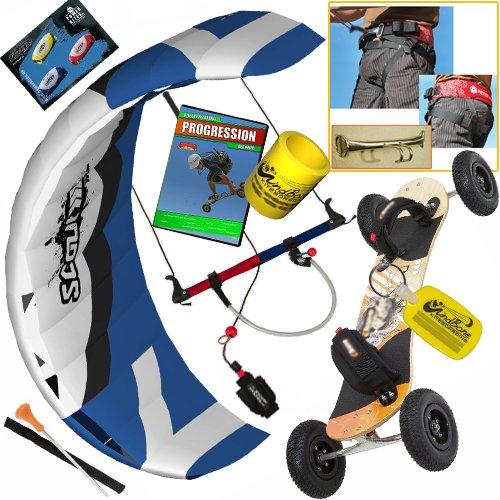 HQ Scout III 5M Kite Mountainboard Kiteboarding Bundle : (7 Items) Includes Landboard + Peter Lynn Base Harness + Progression Beginner Kite Landboarding DVD + WB Decals + WB Key Chain + WB Can Koozie