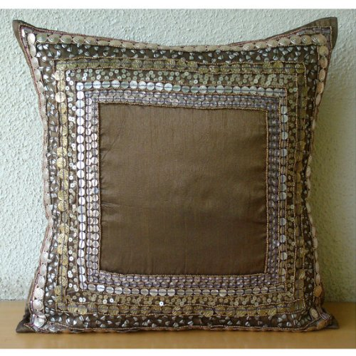 Ethnic Origins - 24X24 Inches Sofa And Bed Sham Covers - Silk Pillow Cover With Antique Sequin Embroidery front-631757