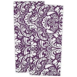 "DII 100% Cotton, Everyday Basic Kitchen Dishtowel, Tea Towel, Drying, Damask Printed, 18 x 28"" Set of 2- Eggplant"
