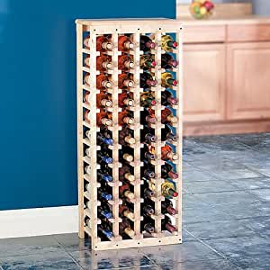 """Wooden Wine Rack-Holds 44 Bottles-Unfinished Pine (Unfinished Pine) (40.5""""h x 17""""w x 10.5""""d)"""