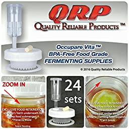 24 QRP Mason Jar FERMENTATION KITS Lids w/ EXCLUSIVE FOOD RETAINER CUPS = NO WEIGHTS NEEDED MOLD-PROOF, installed Grommets, Seals, & Stoppers, & AIRLOCKS (PRO PACK 24 WIDE MOUTH)