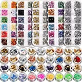 5 box 11440pcs Nails Rhinestones and 36 Pots Foils Flakes, Teenitor professional Nail Decoration with Gems for Nails Stud Foil for Nails Art (Tamaño: 5 boxes Nail Art Rhinestones& 3 box nail foil chip)