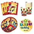 BashBox Standard Power Rangers Birthday Party Supplies Pack Including Plates, Cups and Napkins for 8 Guests