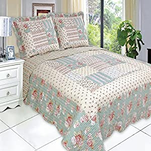Quilt Coverlet Set King/Cal King Oversized Country Cottage Floral Patchwork Pattern Green Cream Wrinkle Free Lightweight Reversible Hypoallergenic Bedding
