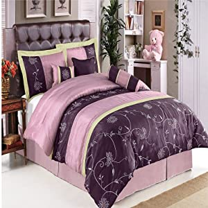 King Size Bedding set Grand Park Purple 11-pcs Bed in a Bag