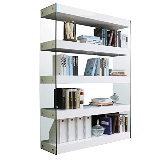 Tuoni Solution Libreria, Legno Laccato, Vetro Temperato, Bianco