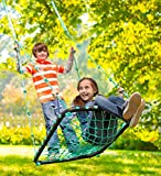 """HearthSong Deluxe Platform Swing, Nylon Rope and Padded Steel Frame - Green - 40""""L x 30""""W"""