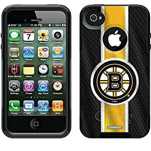 Coveroo Boston Bruins Jersey Stripe Design Phone Case for iPhone 4s/4 - Retail Packaging - Black
