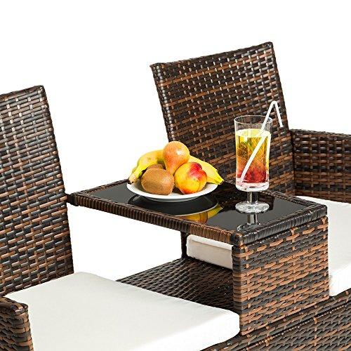 tectake sitzbank mit tisch poly rattan gartenbank. Black Bedroom Furniture Sets. Home Design Ideas