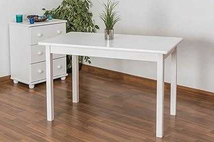 Weißer Esstisch 70x120 cm Kiefer, Farbe: Weiß