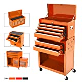 8-Drawer Rolling Tool Chest,Big Tool Chest and Tool Storage Cabinet,Tool Chest with 4 Wheels,Removable Portable Top Box with Lock Tool Chest for Garage and Warehouse-Orange (Color: Orange)