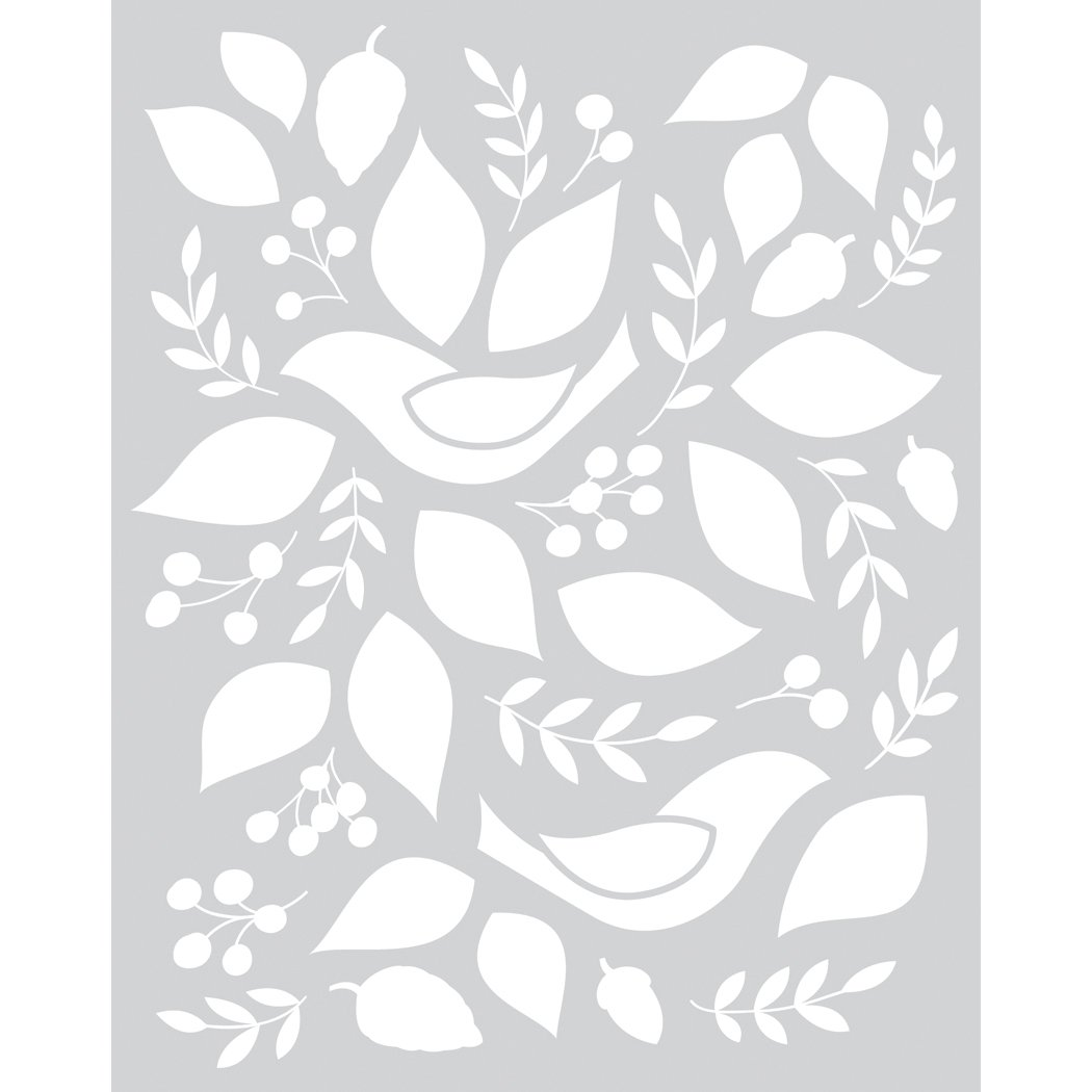 Basic Grey Evergreen Frosted Mylar Stencil By Hero Arts-Birds & Leaves obvious basic by paolo pecora свитер
