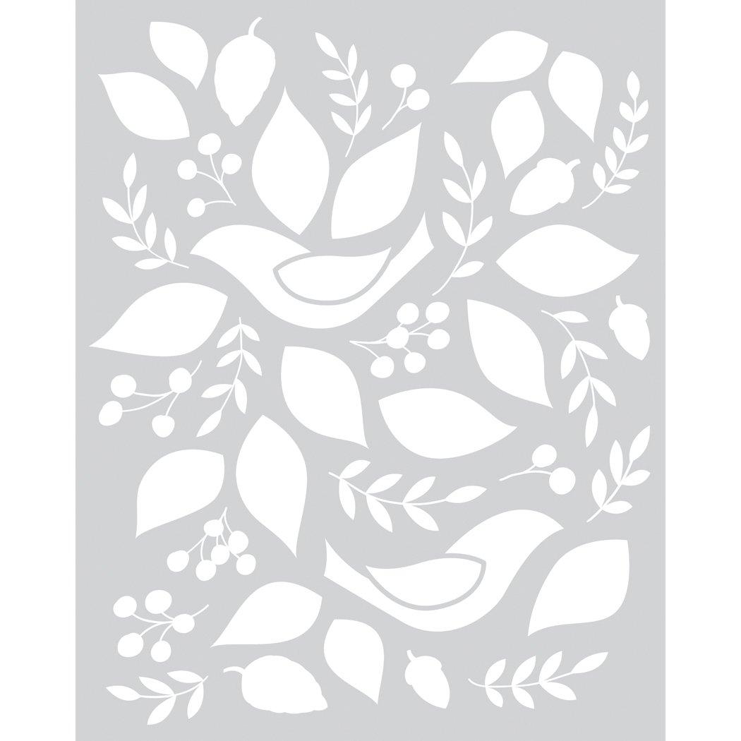 Basic Grey Evergreen Frosted Mylar Stencil By Hero Arts-Birds & Leaves китайский смартфон hero h400