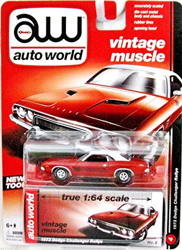 AUTO WORLD VINTAGE MUSCLE SERIES RED AND WHITE 1:64 SCALE 1973 DODGE CHALLENGER RALLYE DIE-CAST - 1