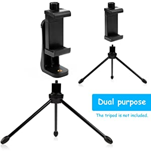 Vastar Universal Smartphone Tripod Adapter Cell Phone Holder Mount Adapter, Fits iPhone, Samsung, and all Phones, Rotates Vertical and Horizontal, Adjustable Clamp (Color: Black)