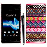 For Sony Xperia J ST26i ST26a New Printed Aztec Vintage Dark Tribal Plastic Hard Shell Protective Back Skin Case Cover + Free Stylus Pen By CONTINENTAL27