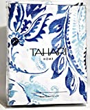 Tahari Luxury Cotton Blend Shower Curtain Royal Blue and Turquoise Paisley on White, Philippa