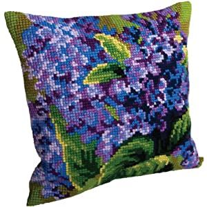 Amazon.com: Collection D art Lilas Simple Pillow Cross Stitch Kit 15 3/4 X15 3/4 : Kitchen & Dining