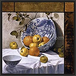 26in x 26in Composition with Asian Bowls (Contemporary Still-Life #6) by Bruno Capolongo - Black Floater Framed Canvas w/ BRUSHSTROKES
