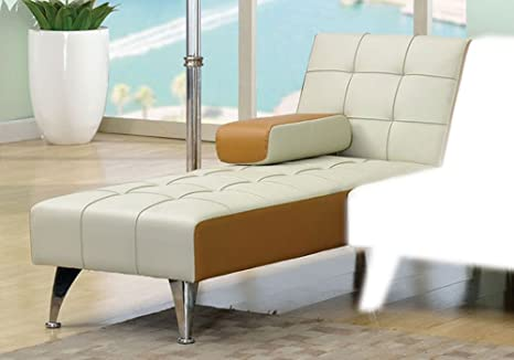 1PerfectChoice Lytton Transitional Adjustable Chaise Futon Sleeper Couch in Beige & Brown PU