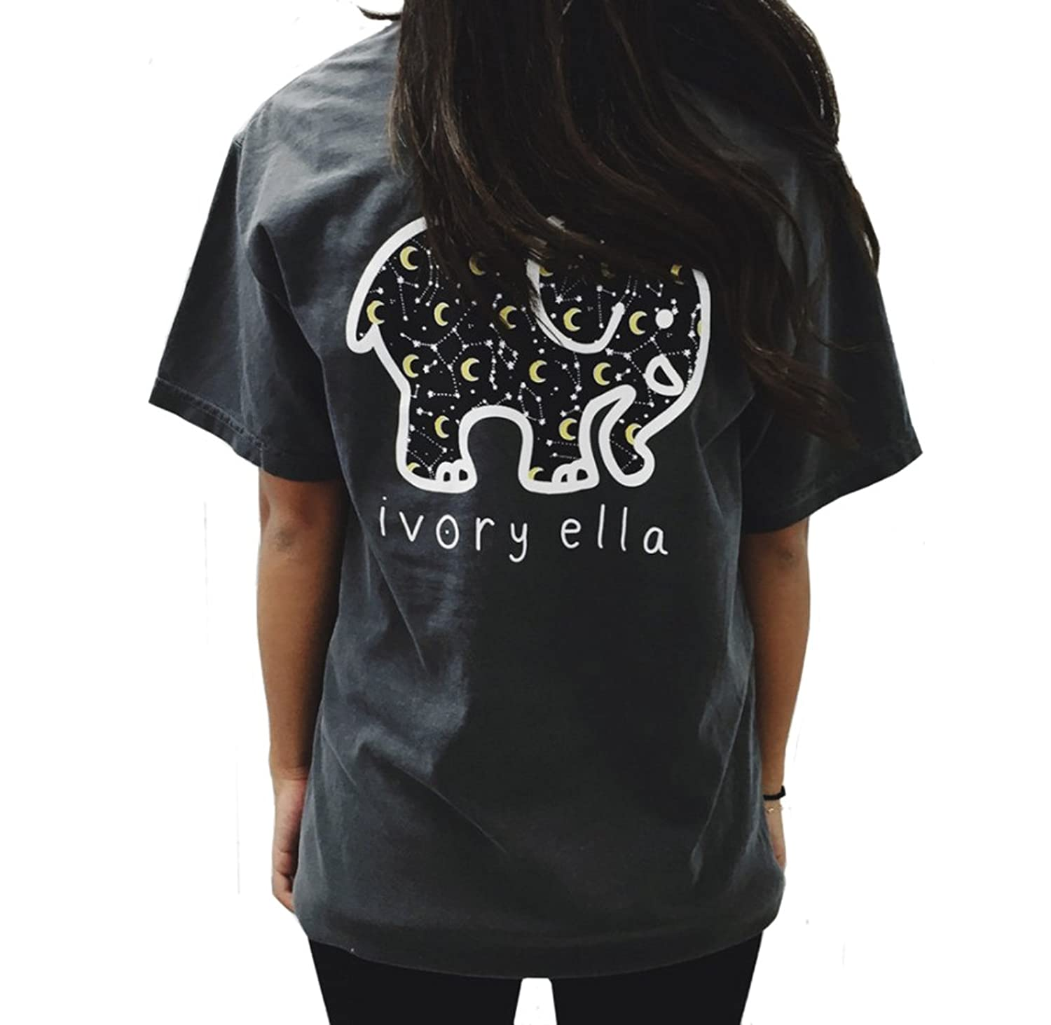 MIXMAX Women Short Sleeve Crew Neck Elephant Print Pocket Top T-shirt