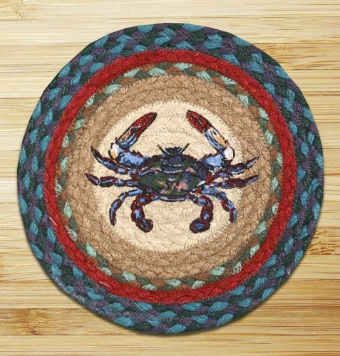 Capitol Importing 80-359BC Blue Crab - 10 in. x 10 in. Hand Printed Round Swatch