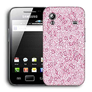 Snoogg Pink Leaves White Pattern Printed Protective Phone Back Case Cover For Samsung Galaxy ACE S5830