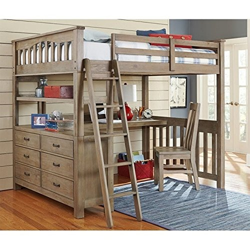 NE Kids Highlands Full Loft Bed with Desk in Driftwood (Loft Beds Full compare prices)